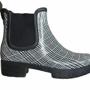 Size 10 Rain Boots Plaid Bootie Slip On